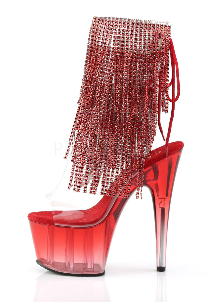 7 Inch Heel, 2 3 4 Inch Platform Open Toe Toe Toe Heel Lace-Up Fringe Ankle Boot e54049