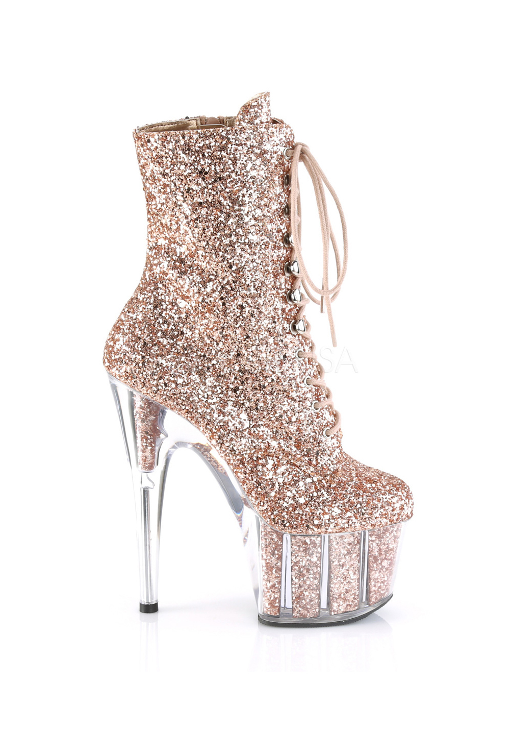 Women/'s 6 1//2 Inch Heel Glitter Lace-Up Ankle Boot With Glitter-Filled Platform