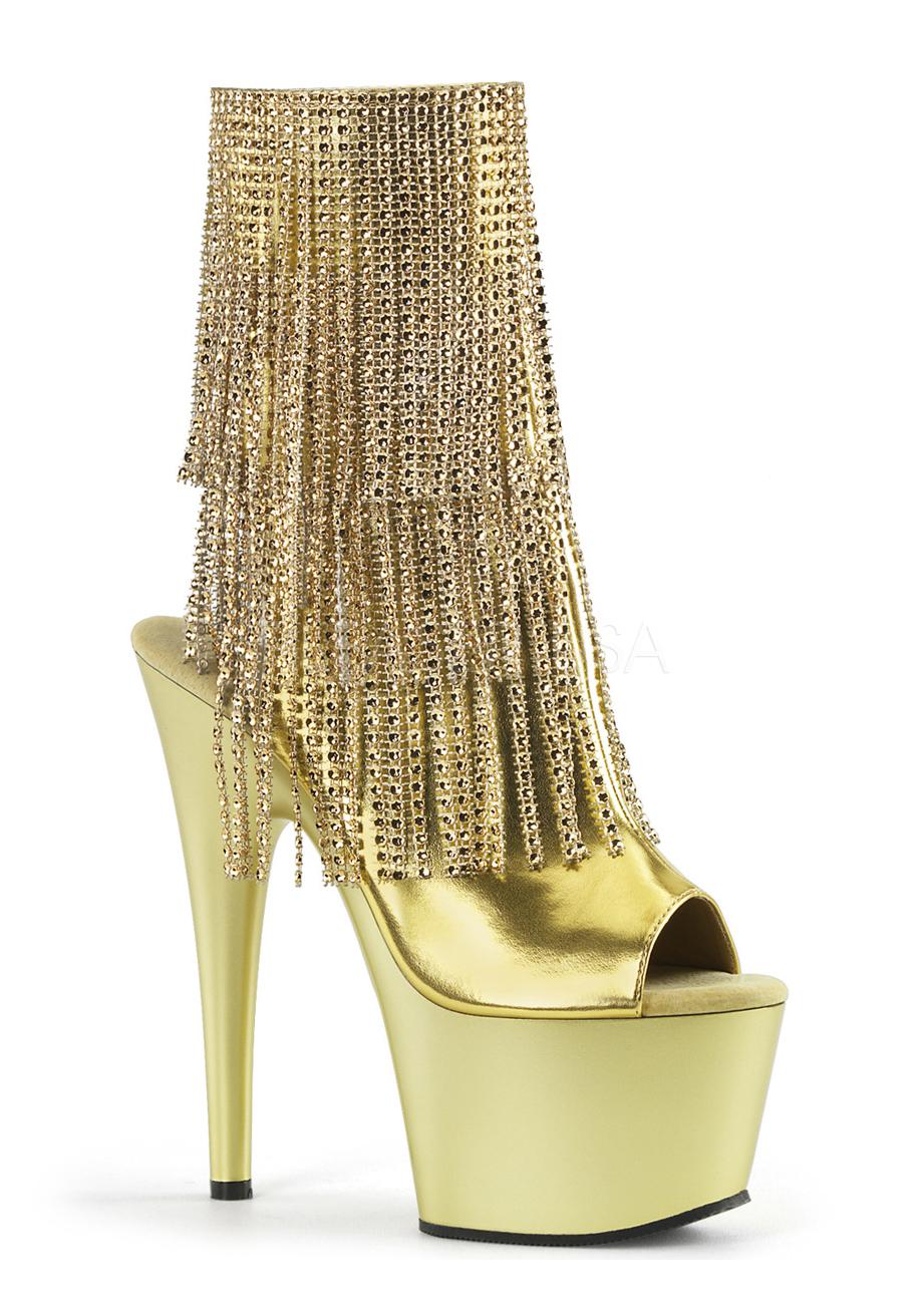 7 Inch Heel, 2 3/4 Inch Platform Open Toe/Heel Ankle Boot, Side ...