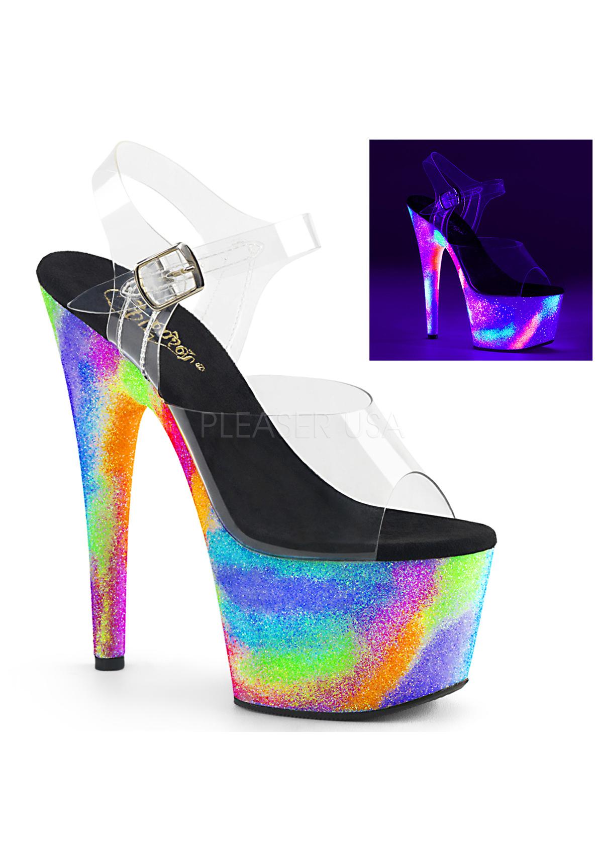 Pleaser 7  Heel, 2 3 4  Platform Ankle Strap Sandal With UV Galaxy Effect