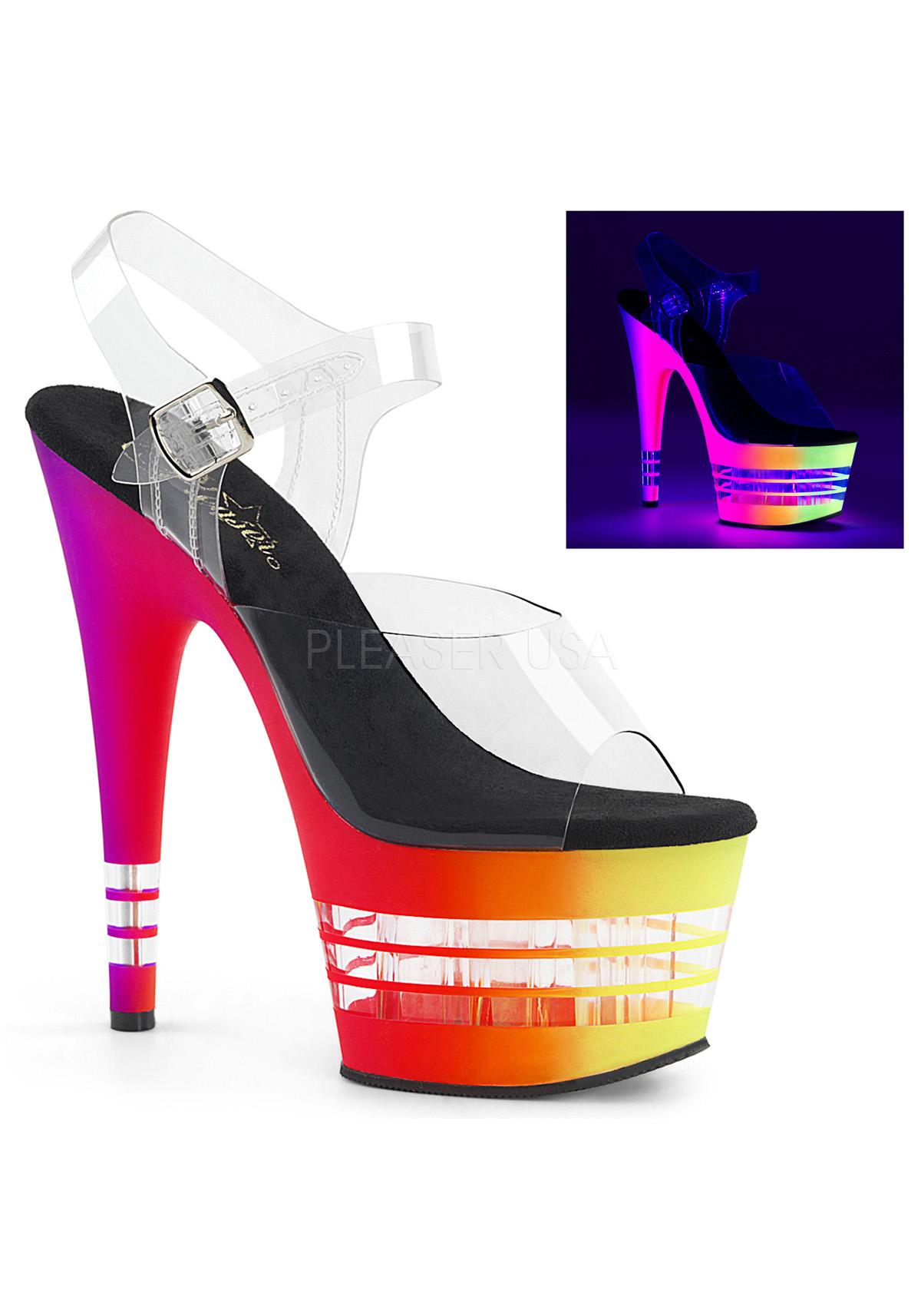 Pleaser 7 Inch UV Heel, 2 3/4 Inch UV Inch Reactive Lined Platform Ankle Strap Sandale 72bede