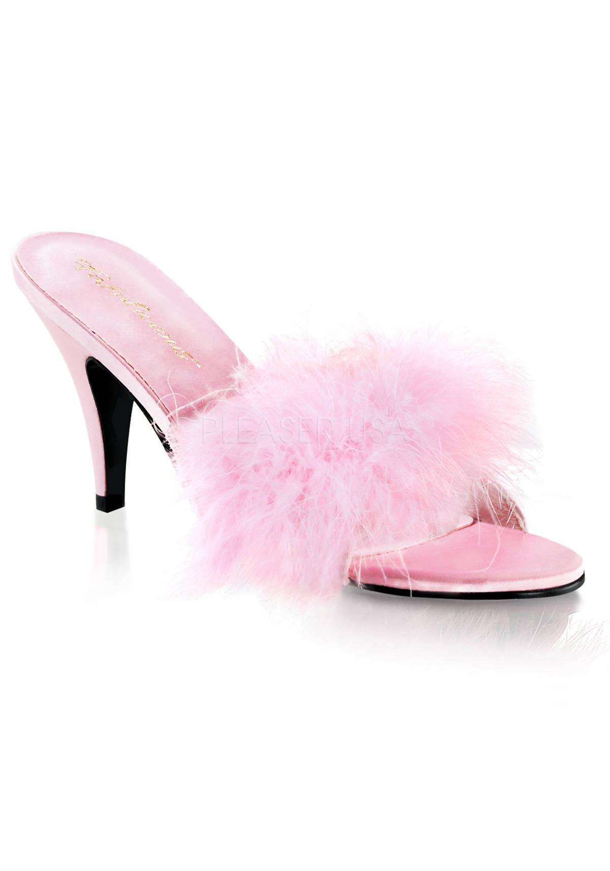 Fabulicious amour 03 3 inch classic marabou slipper women - Ladies bedroom slippers with heel ...