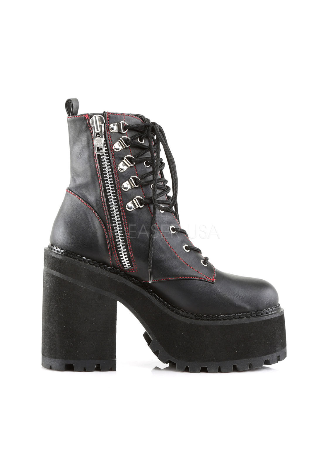 Demonia ASSAULT-100 D-Ring Lace-Up Ankle Boot, Side Zip