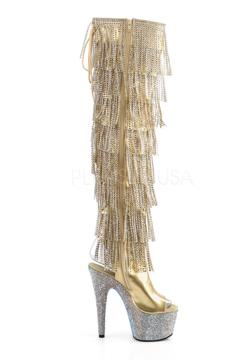 7 Inch Inch Inch Heel, 2 3 4 Inch Platform Open Toe Heel Thigh High Boot, Side Zip 374c15