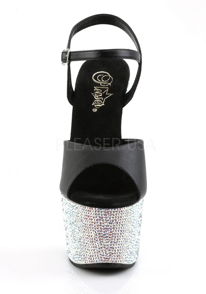 Pleaser BEJEWELED-709DM 7 Inch Heel, Heel, Heel, 2 1 2 Inch Platform Ankle Strap Sandal 583e02