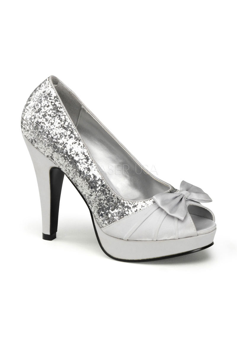 Pinup Couture Bettie 10 4 1 2 Inch Heel Satin And Glitter