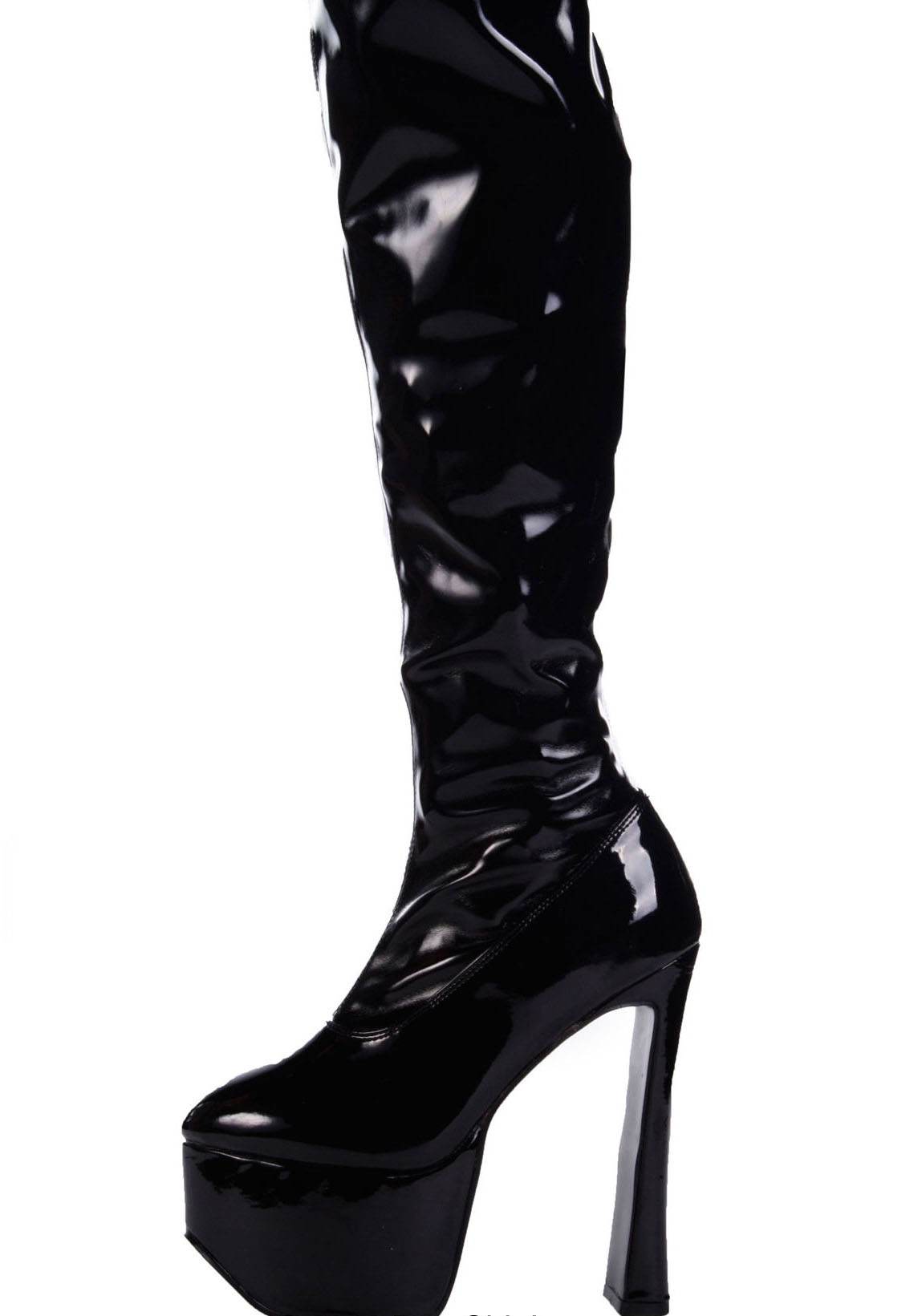 pleaser 3000 s 6 1 2 inch chunky heel thigh
