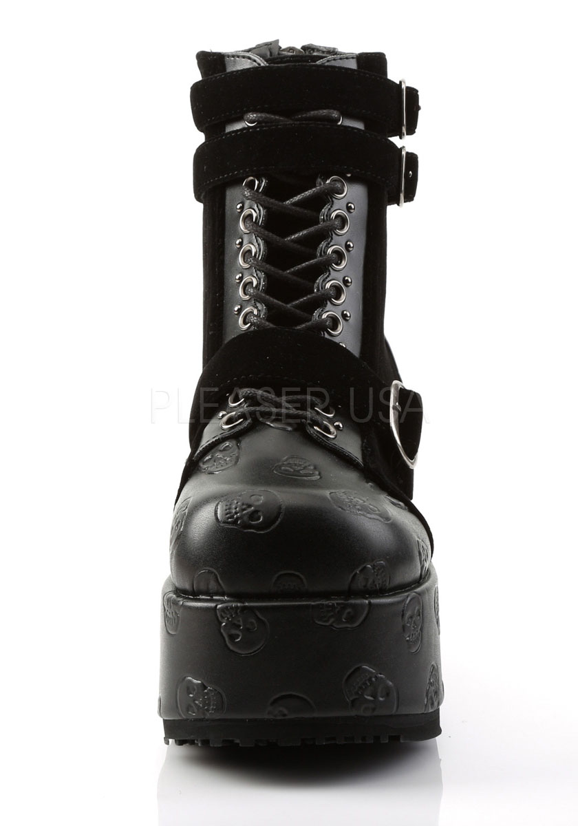 4 1/4 Inch Platform Lace-Up Ankle Boot, Back Zip