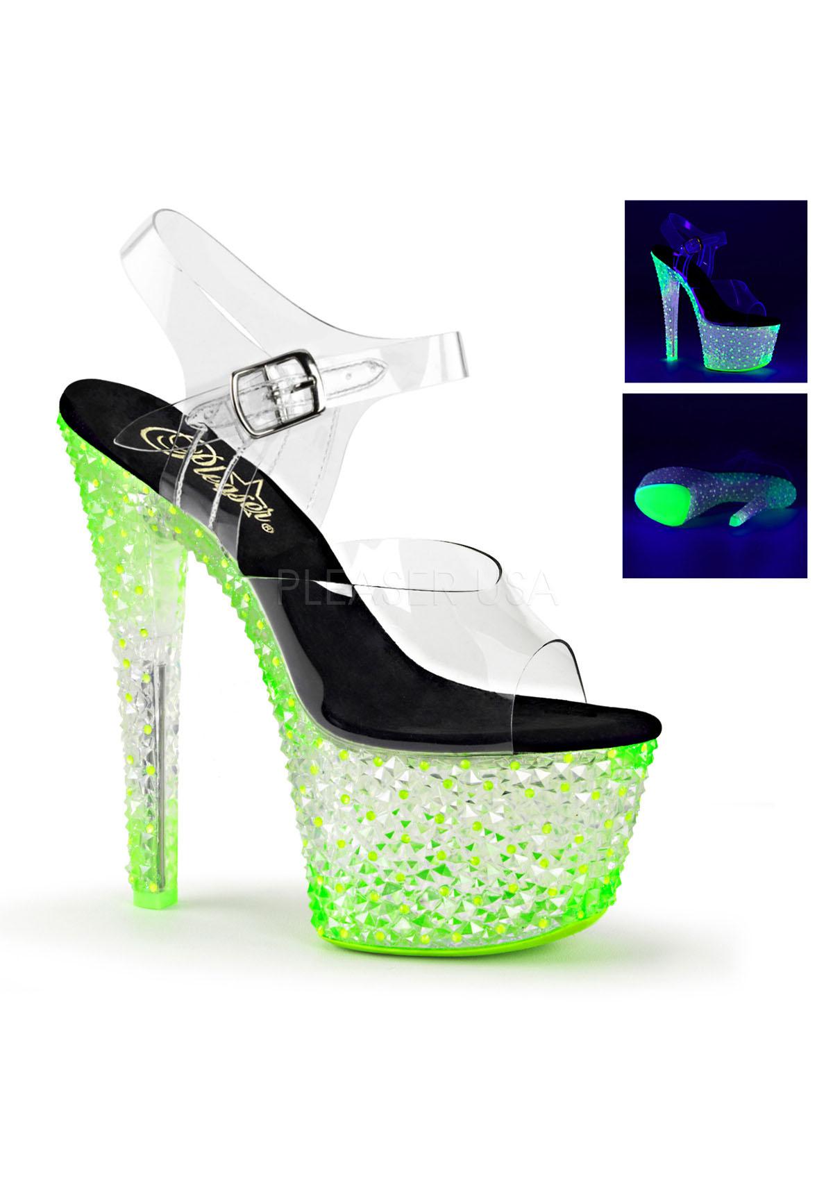 Pleaser CRYSTALIZE-308PS 7'' Heel, Platform Ankle Strap Sandale, Neon UV Reactive