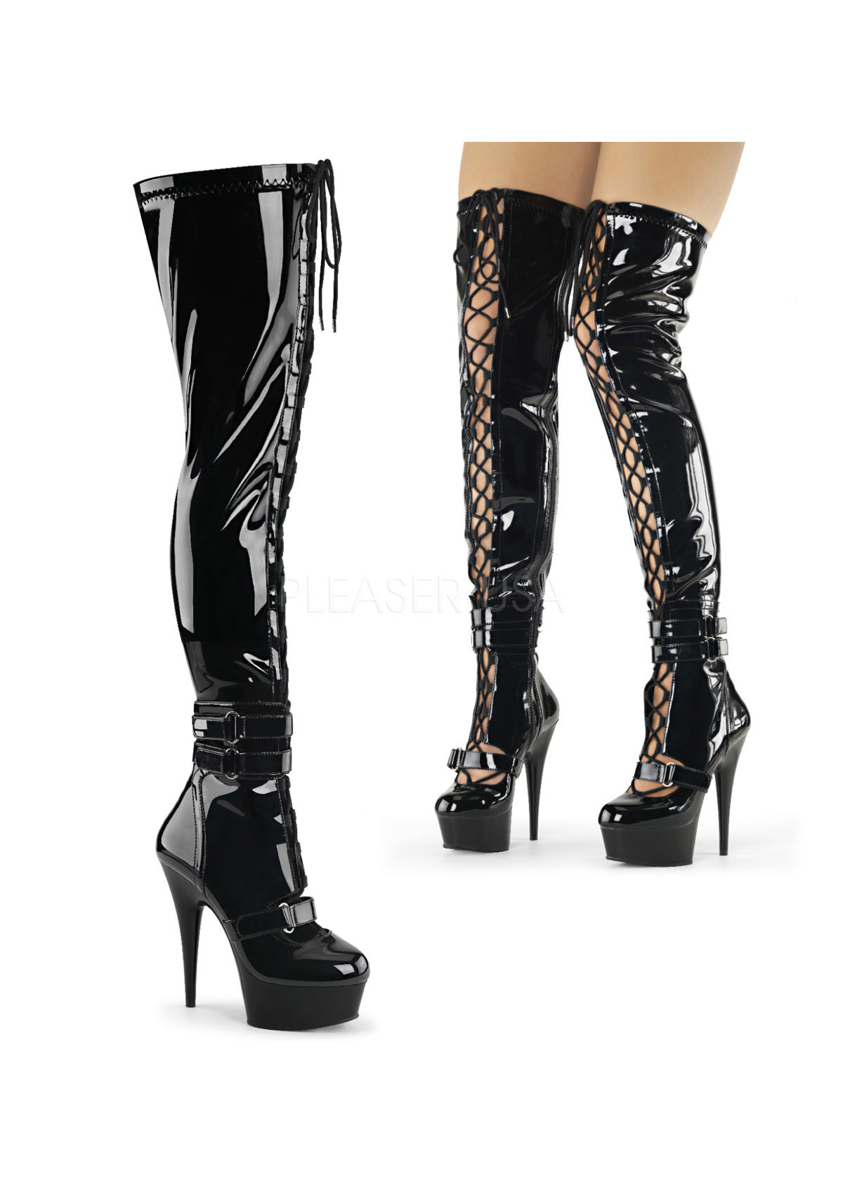 6 inch heel front lace up thigh high boot side zip ebay