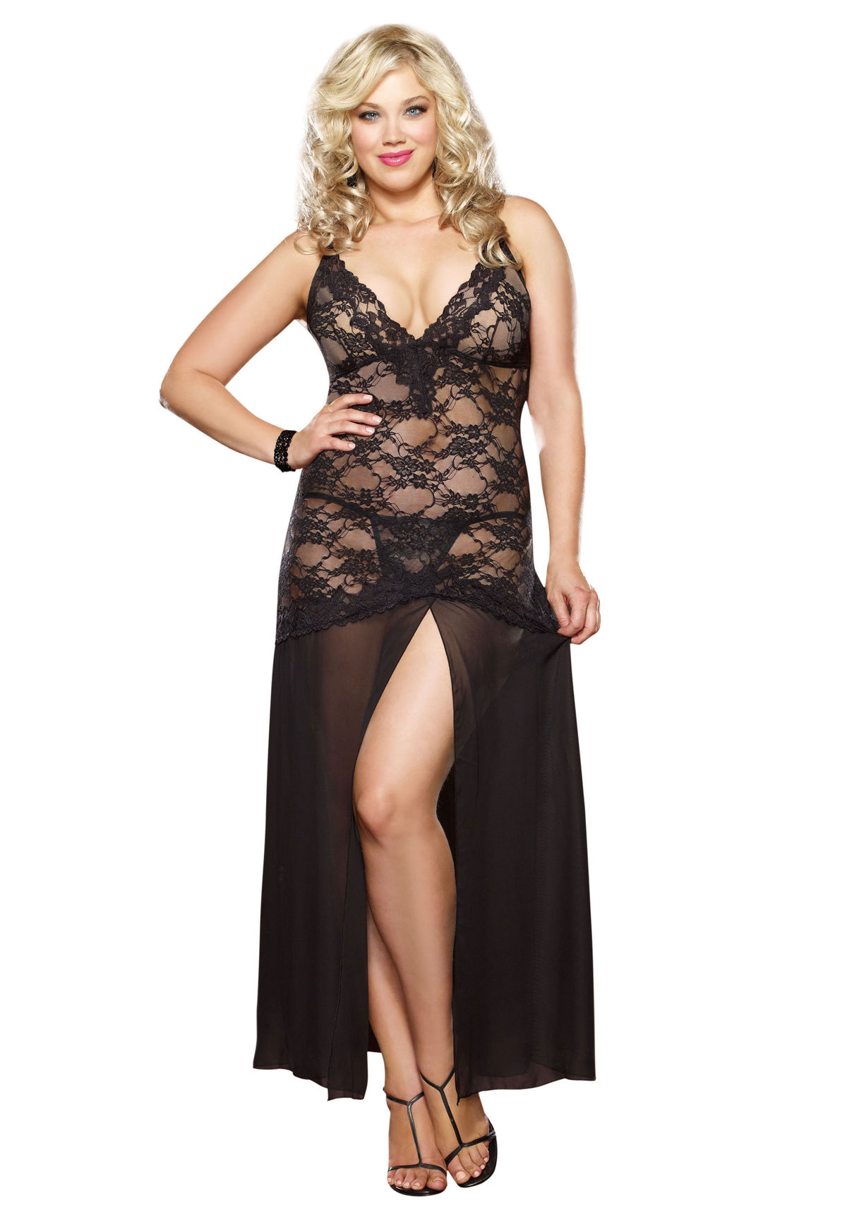 Dreamgirl 8489X Plus Size Gown And Thong