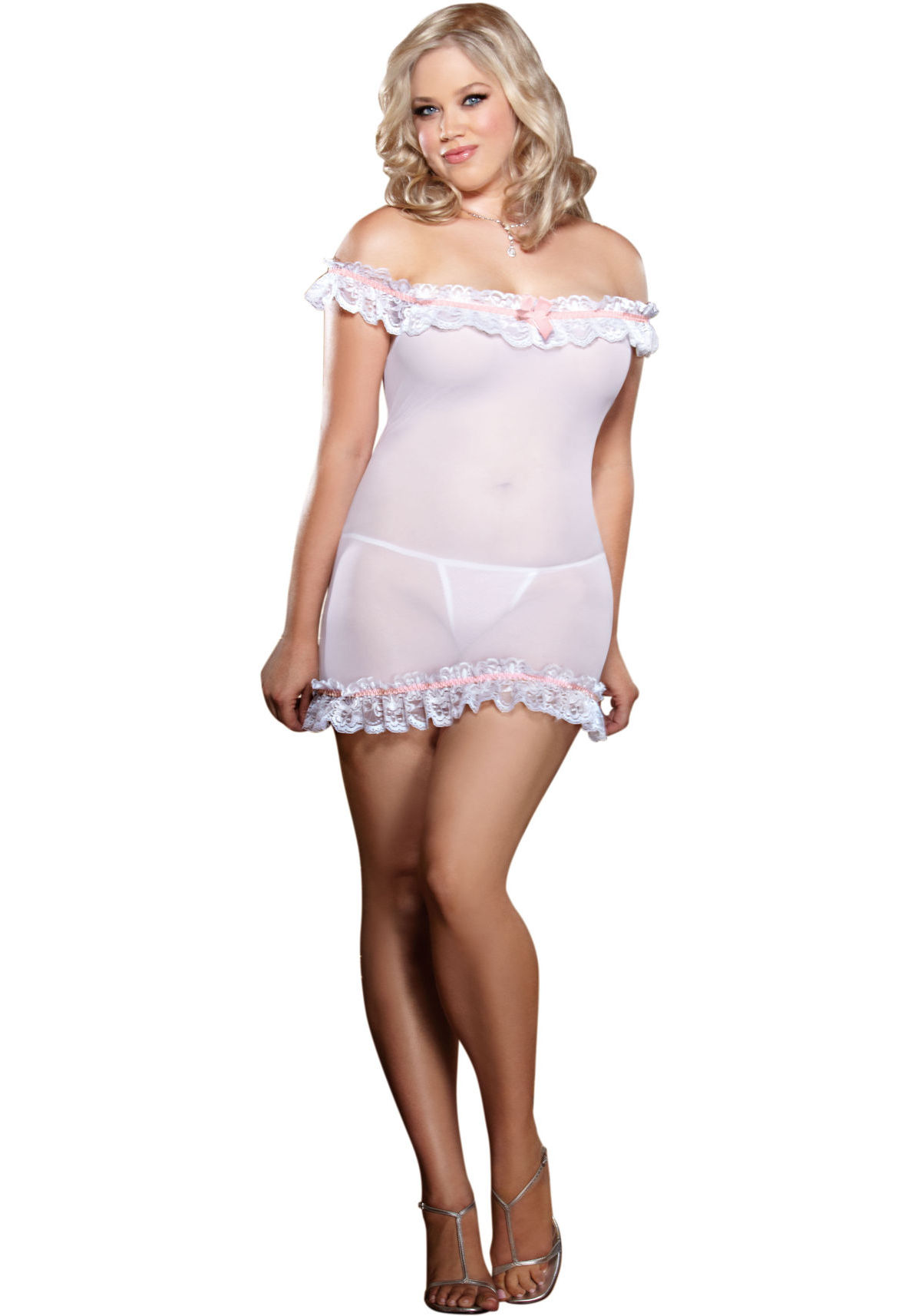 Dreamgirl 8695X Chemise And Thong (White/Pink;Plus Size)
