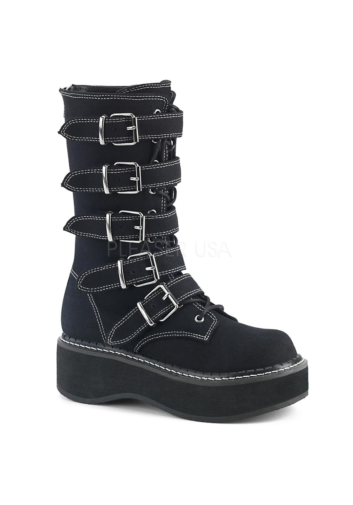 Demonia EMILY-341 2  Platform Mid-Calf Stiefel With 5 Buckle Straps, Metal Back Zip