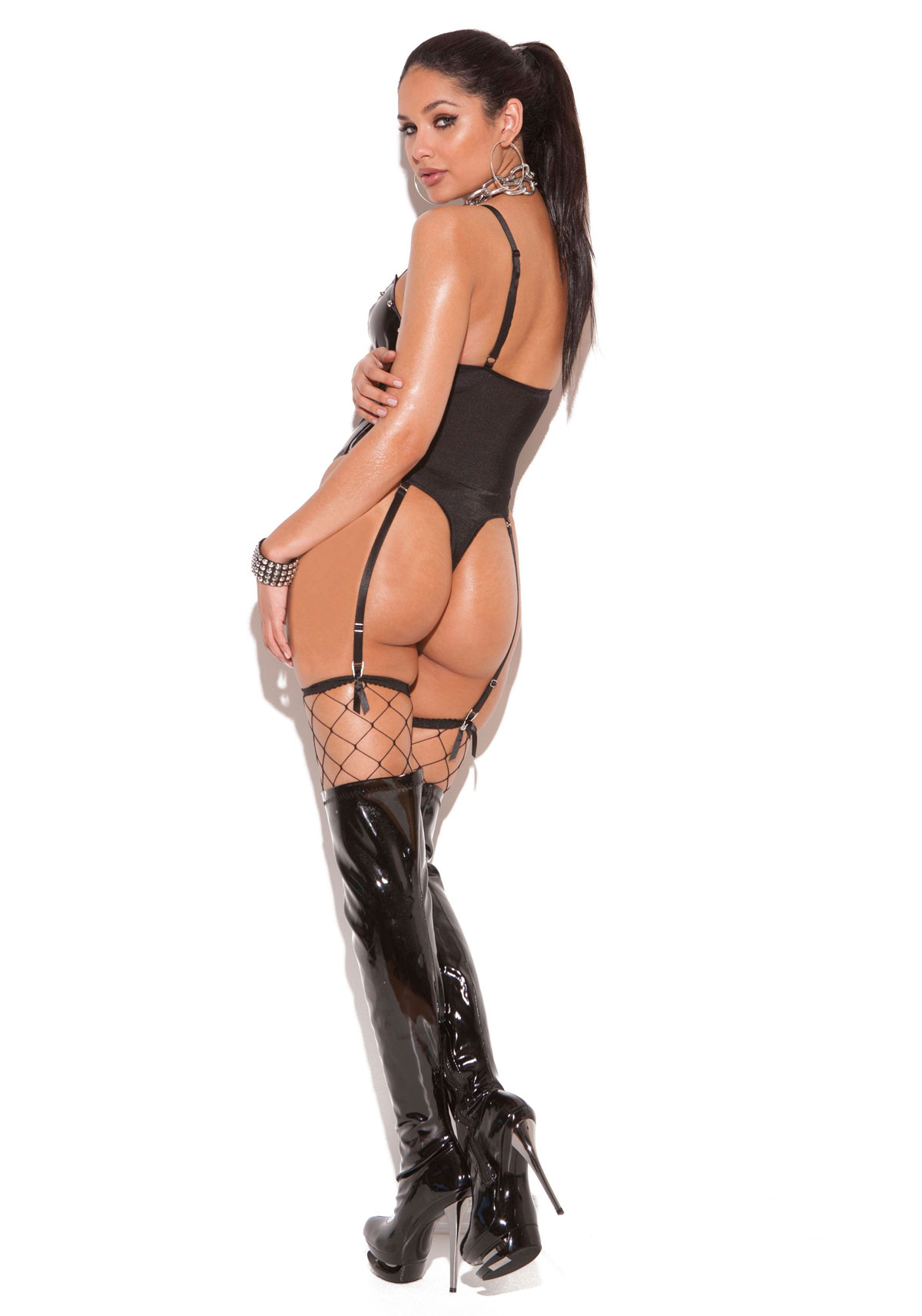 Lace-Up-Vinyl-Thong-Back-Teddy-With-Studs-Adjustable-Garters