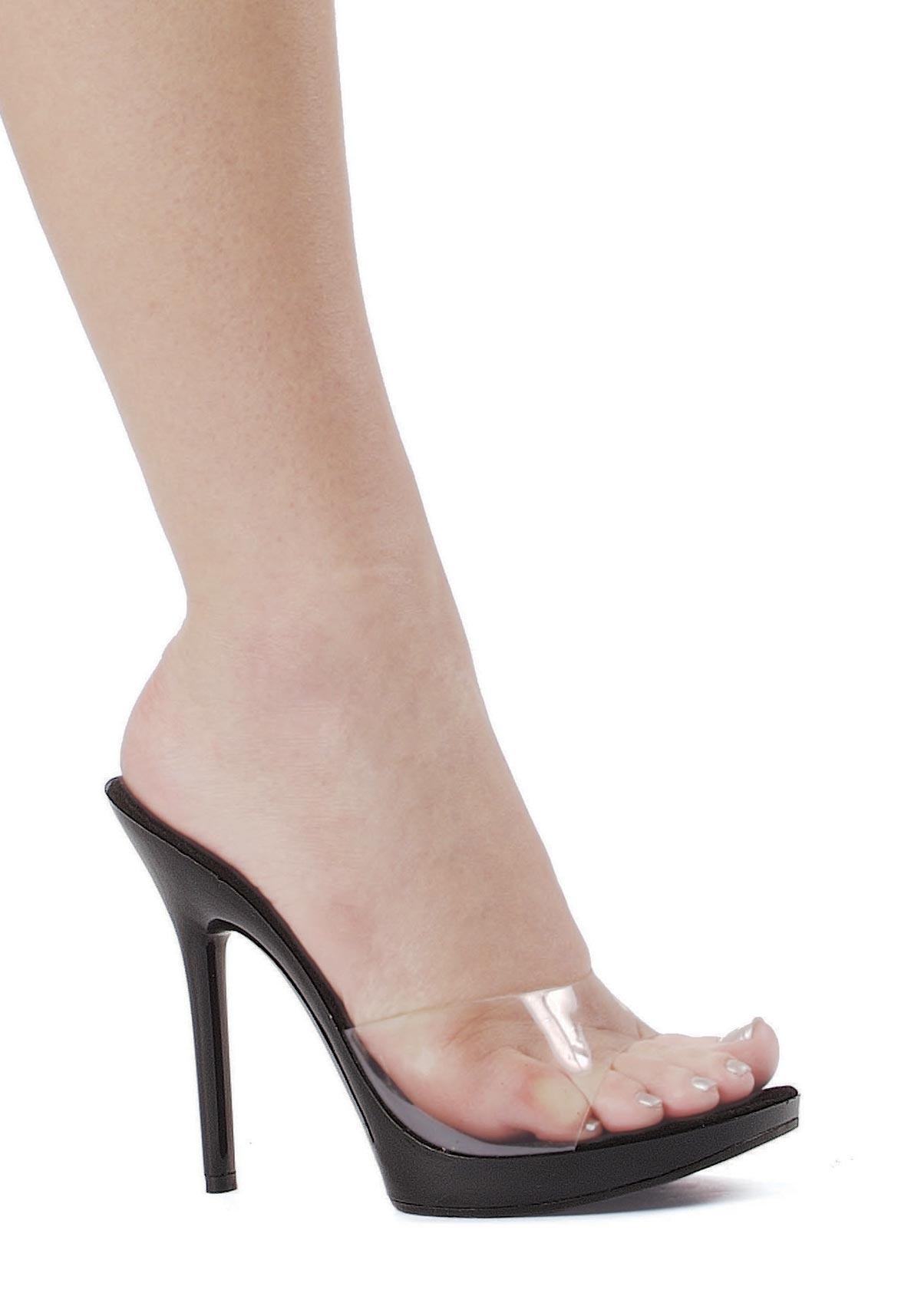 5 inch heel clear mule s size shoe ebay
