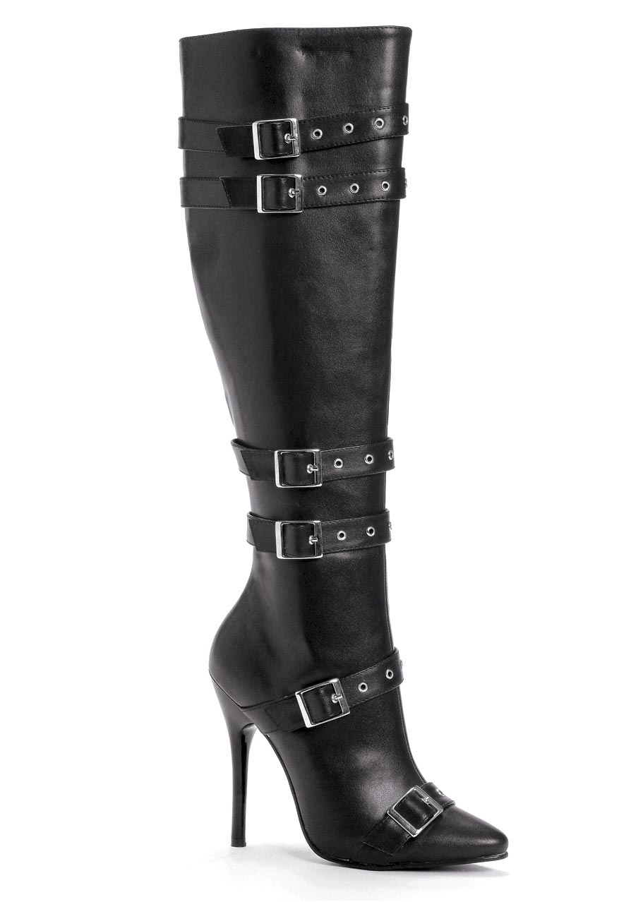 5 inch heel knee high boot s size shoe with buckles