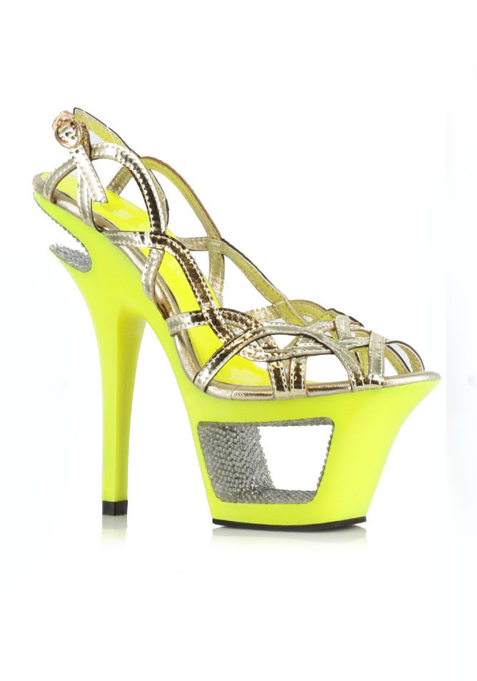 Ellie Schuhes Out 604-ISLA 6 Inch Neon Cut Out Schuhes Heel With Rhinestone 8a24ee