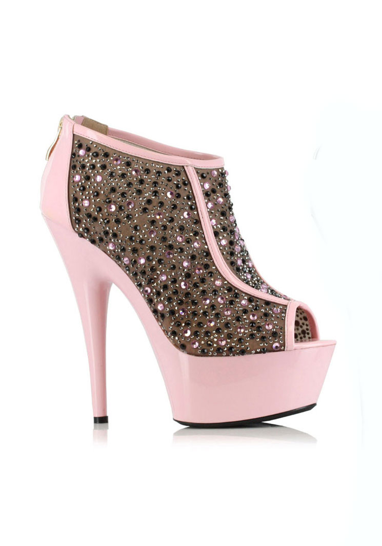 Ellie Schuhes 609-KAITLYN 6'' Stiletto With Contrasting Trim And Multi Rhinestone