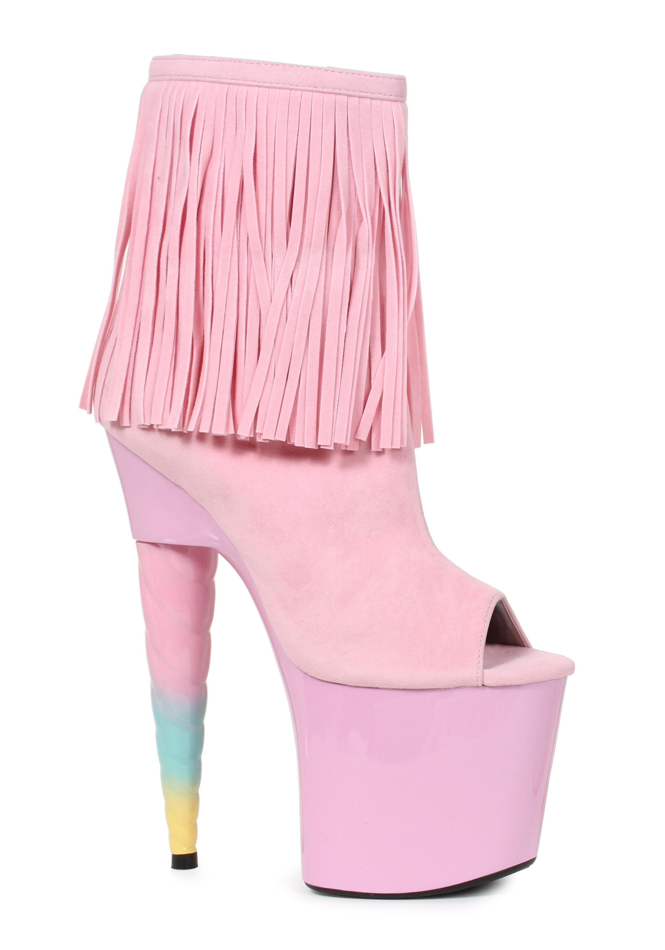 Ellie-Shoes-777-PRINCE-7-Inch-Unicorn-Heel-Platform-Bootie-With-Fringe