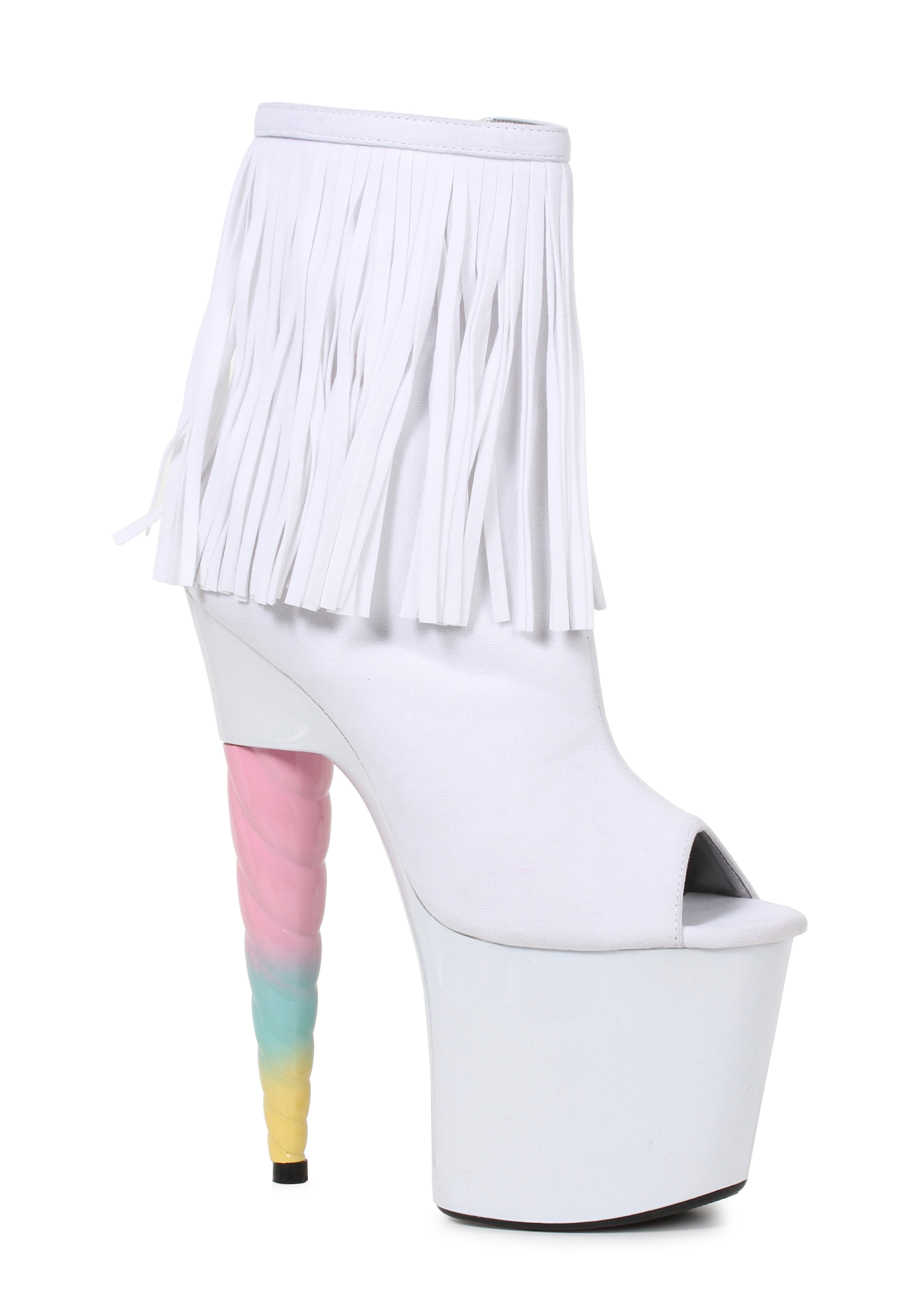 Ellie-Shoes-777-PRINCE-7-Inch-Unicorn-Heel-Platform-Bootie-With-Fringe thumbnail 3