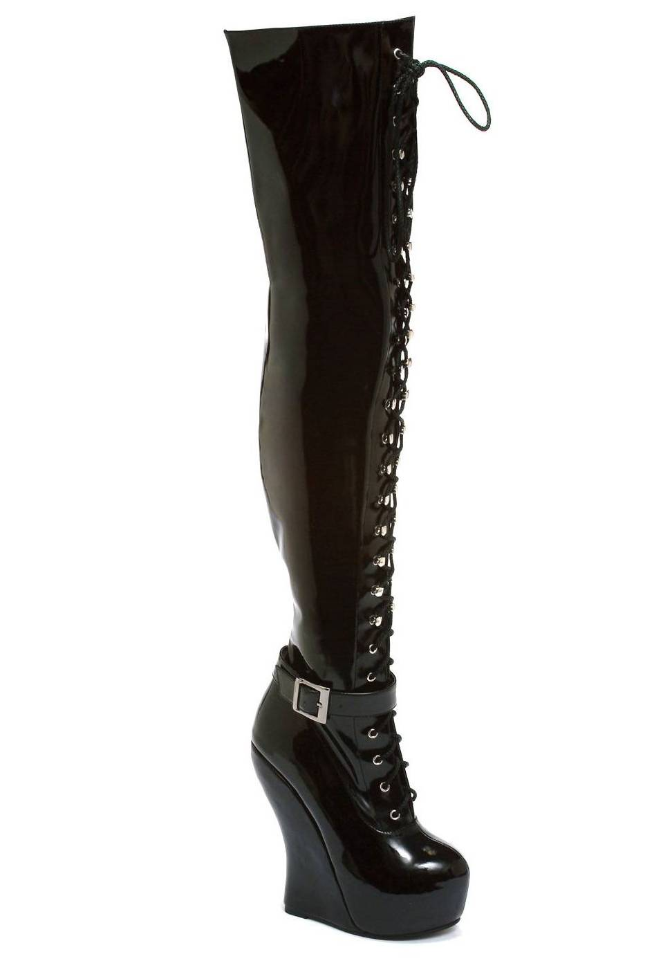 bettiepage bp588 ophelia knee high lace up curve wedge