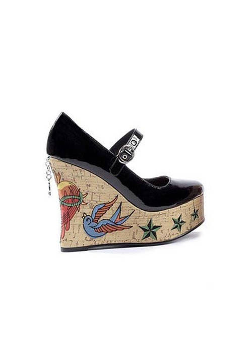 s shoes 4 5 inch cork wedge with embroidery