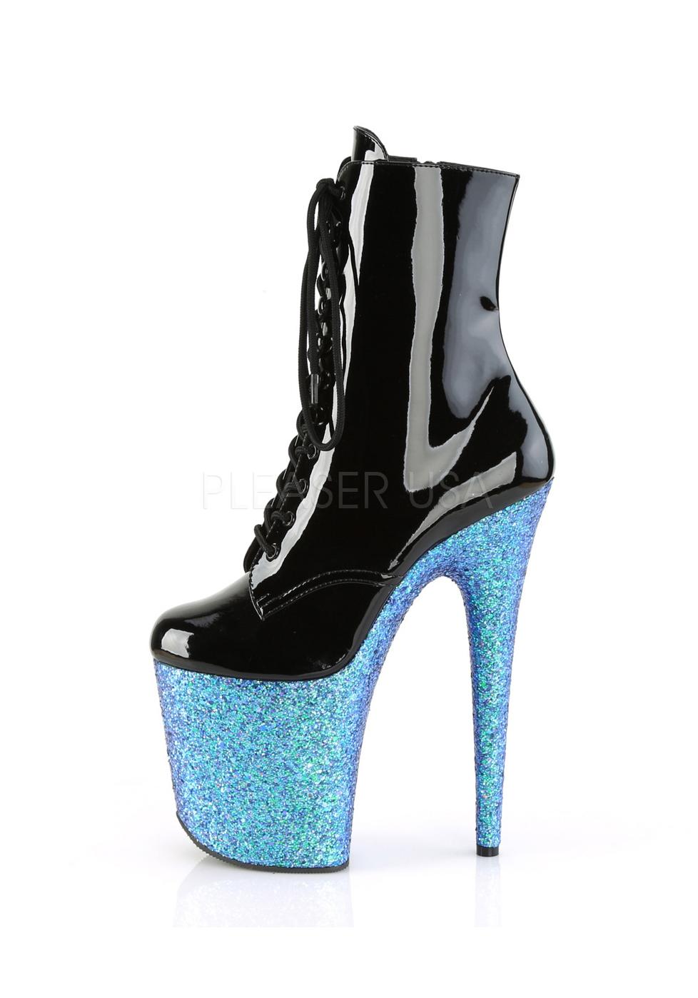 "Side Zip Pleaser FLAMINGO-1020LG 8/"" Heel 4/"" Platform Lace-Up Ankle Boot"