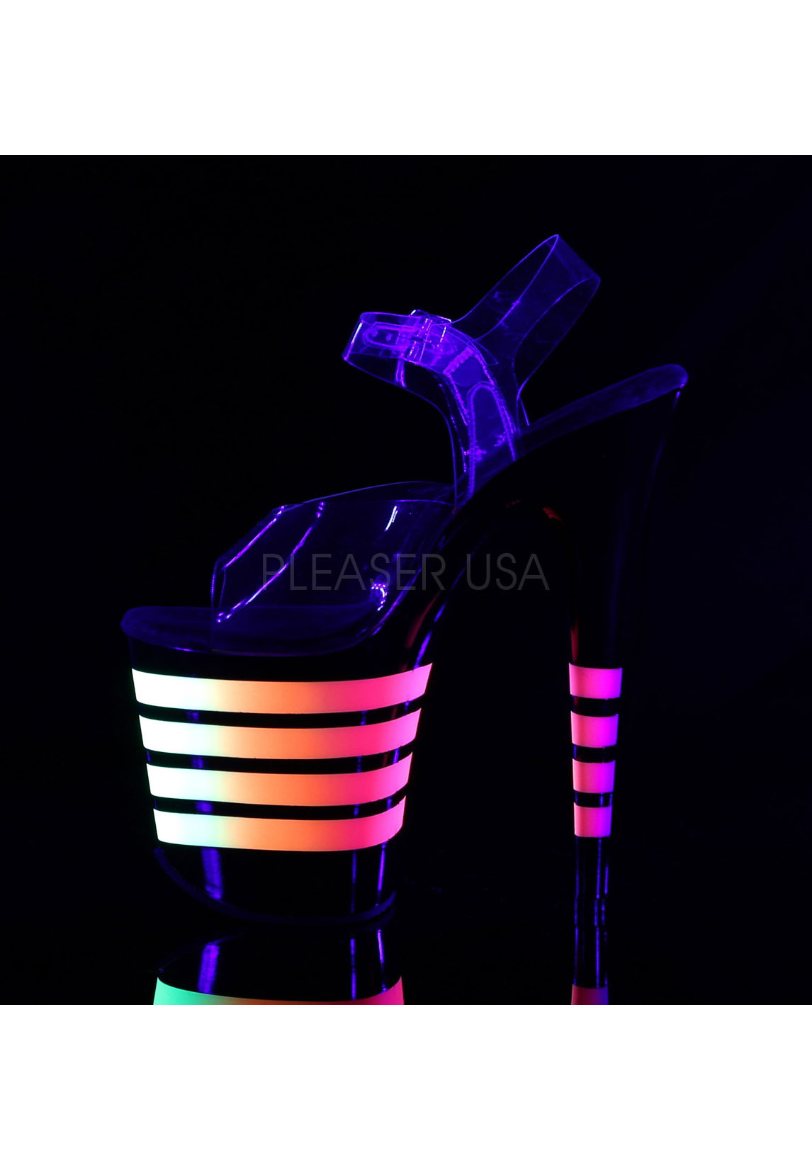 8 Inch Heel, 4 Inch Platform Ankle Strap Sandale With Neon UV Reactive Lines