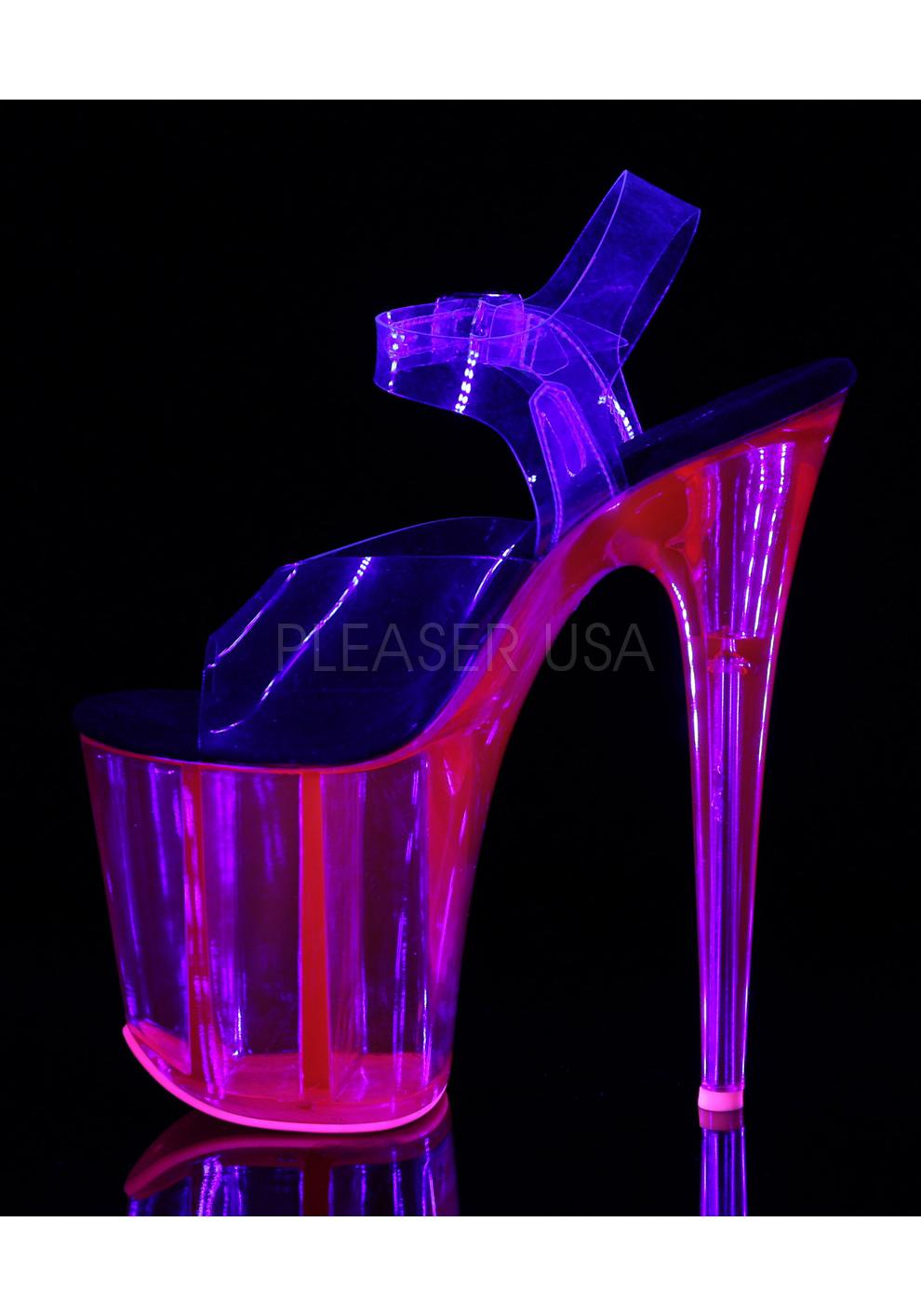 Pleaser 8 Platform Inch Heel, 4 Inch UV Reactive Tinted Platform 8 Ankle Strap Sandal 042cde