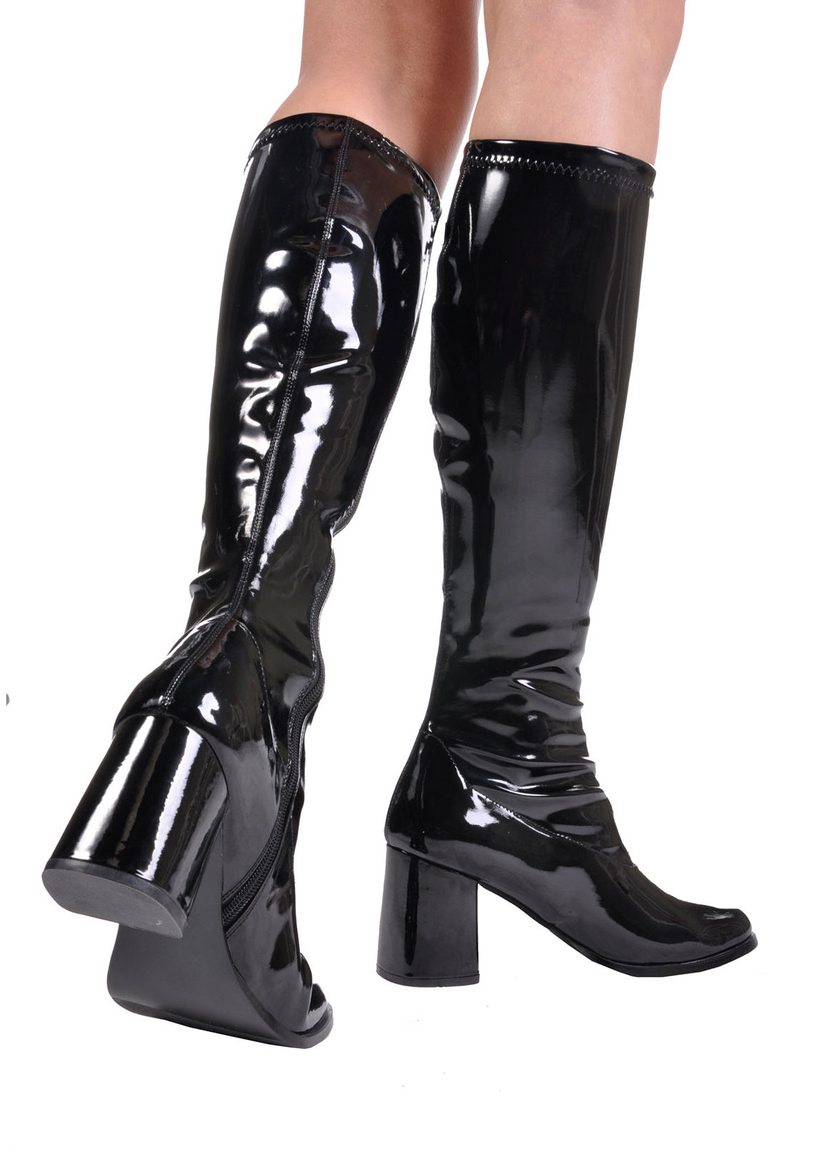 pleaser gogo 300 3 inch block heel gogo boots side zipper