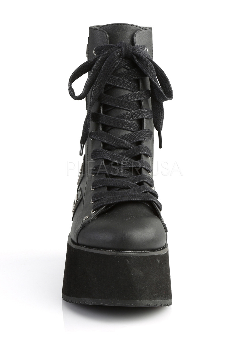 Demonia Lace-Up GRIP-103 2 3/4 Inch Platform Lace-Up Demonia Ankle Boot, Back Zip 09b665