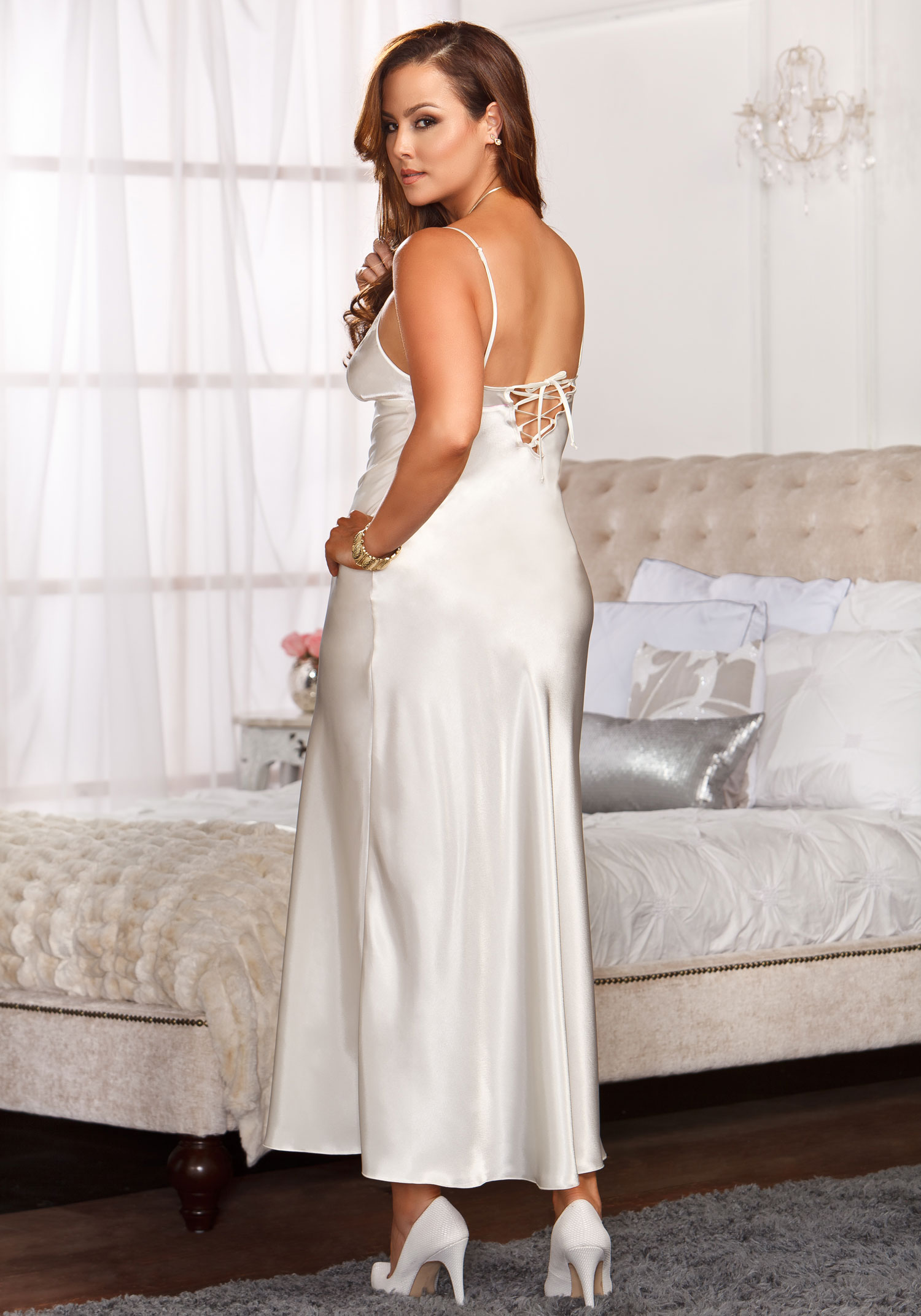 iCollection Lingerie 7801X Plus Size Long Lace Trimmed Satin Gown
