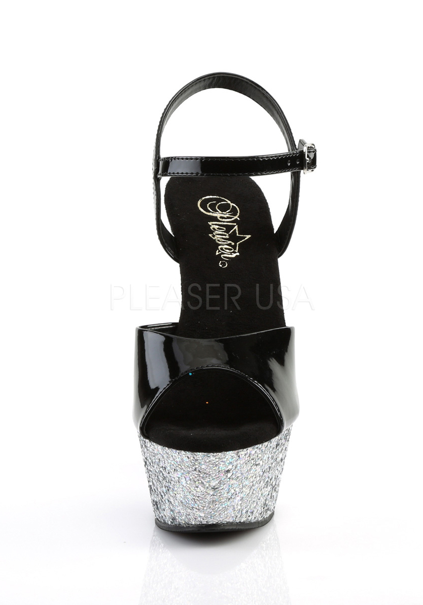Pleaser 6 Inch Heel, 1 3/4 Inch Platform Glitter Ankle Strap Sandale With Glitter Platform Bottom 40f6bc