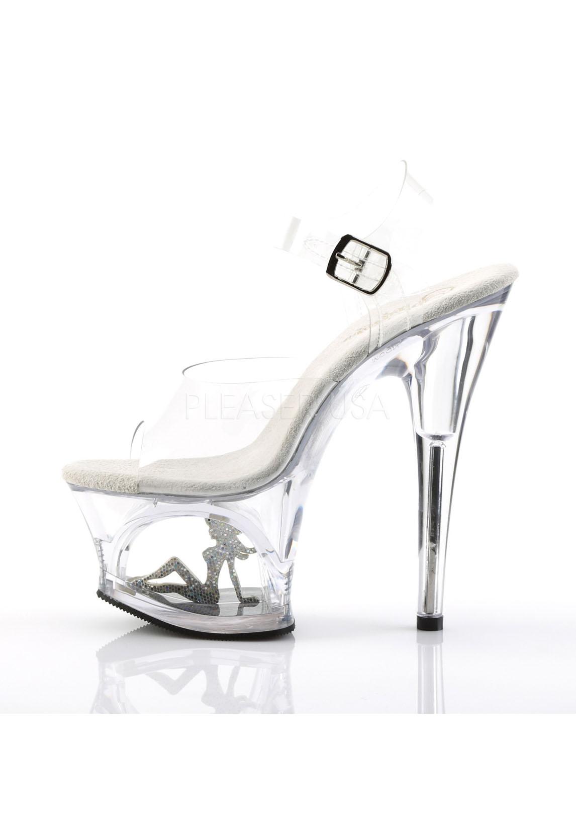 Pleaser MOON-708TG 7 Inch Heel, 2 3/4 Inch Cut-Out Platform Ankle Strap Sandale