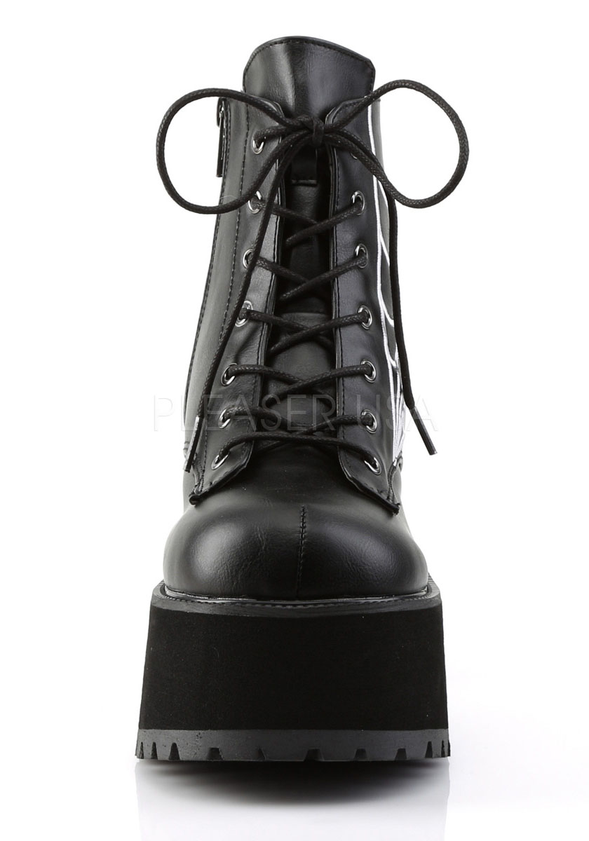4 Inch Heel, 2 1/2 Inch Platform Ankle Boot With Spider Wed Embroidery