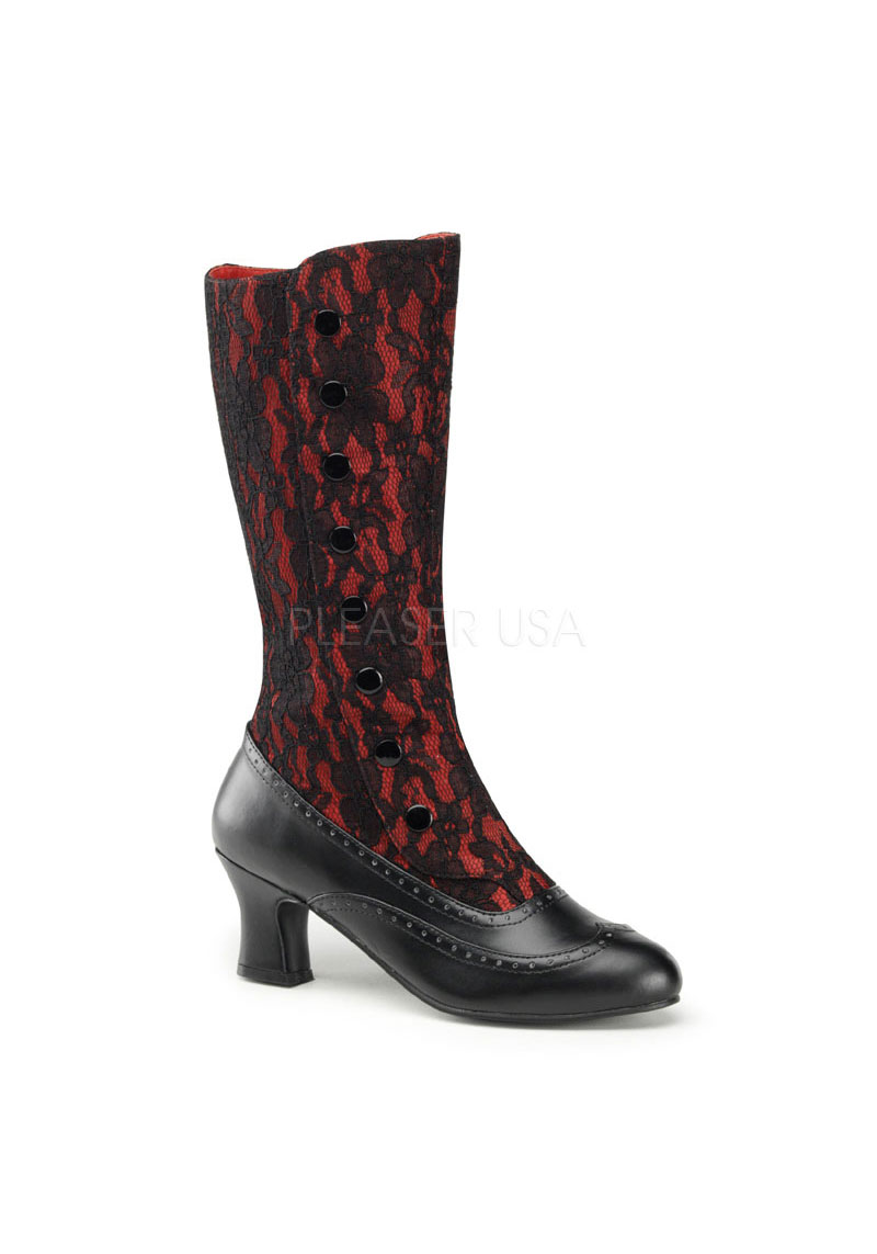 funtasma spooky 160 2 inch block heel boot with satin and