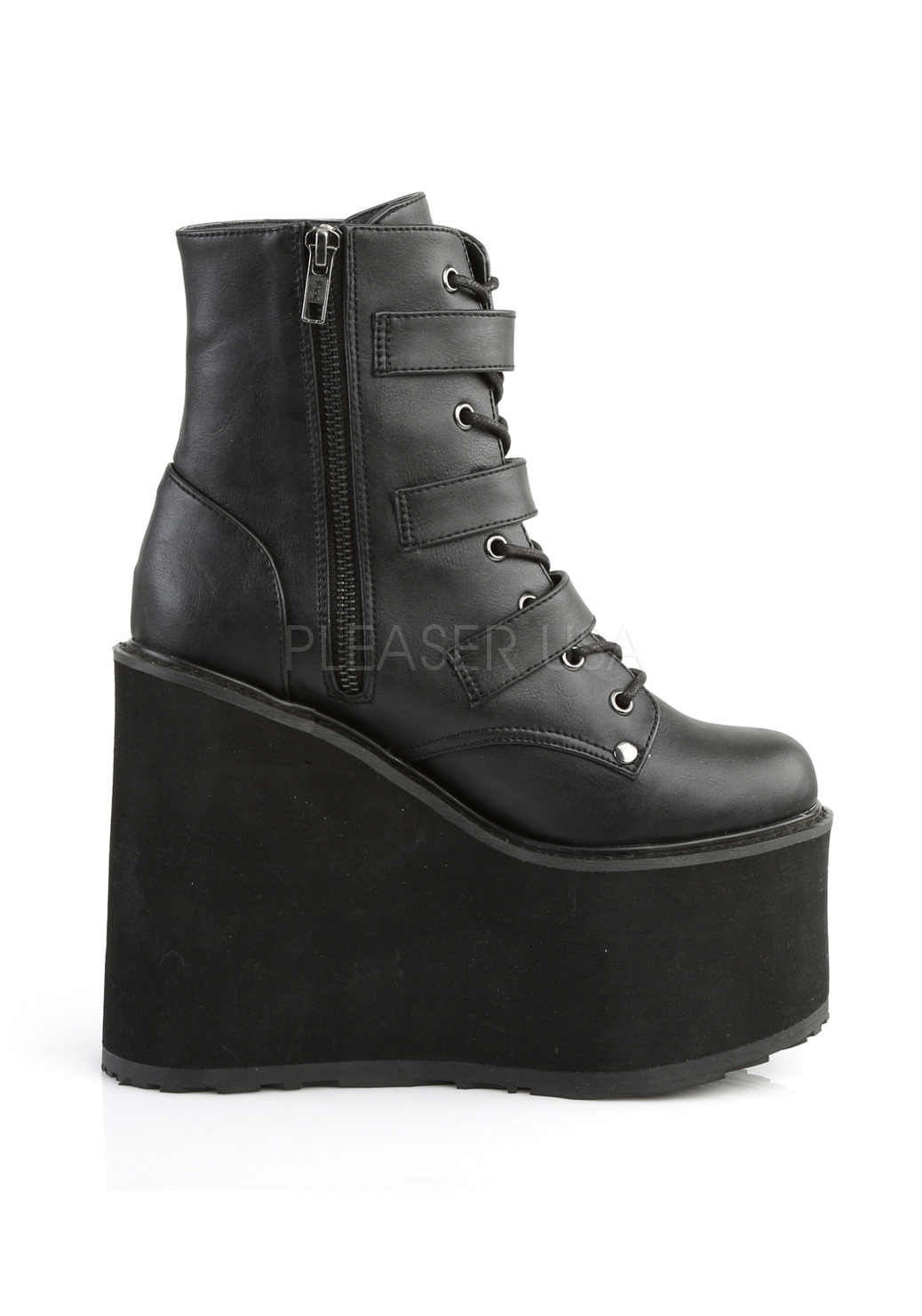 Demonia SWING-103 5 5 5 1 2'' Platform Lace-Up Ankle Boot W 3 Buckle Straps Side Zip a22ae0