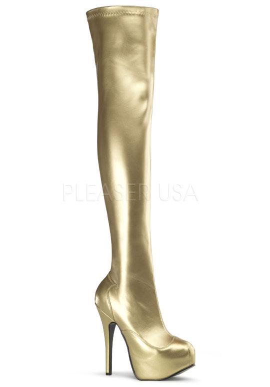 Bordello 5 Thigh 3/4'' Heel, 1 3/4'' Hidden Platform Stretch Thigh 5 Boot, Side Zip 0cd3d3