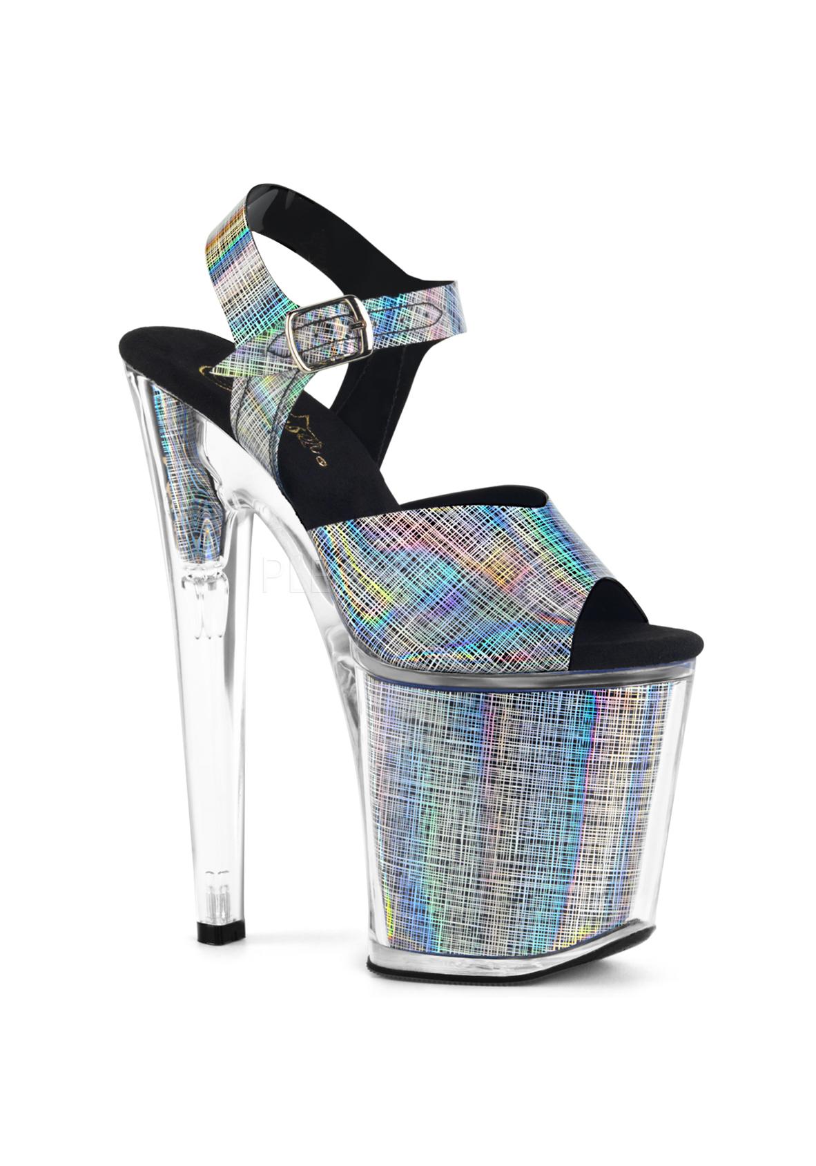 Pleaser XTREME-808N-CRHM 8  Heel, 4  Platform Crosshatch Ankle Strap Sandal